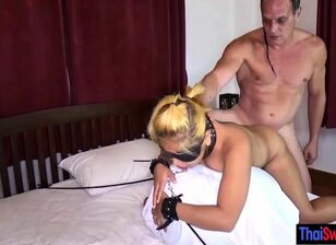 Bound wife blowjob
